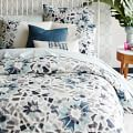 Organic Stained Glass Floral Duvet Cover, Twin, Pale Harbor