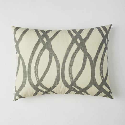 Organic Paint Swirl Standard Sham, Feather Gray