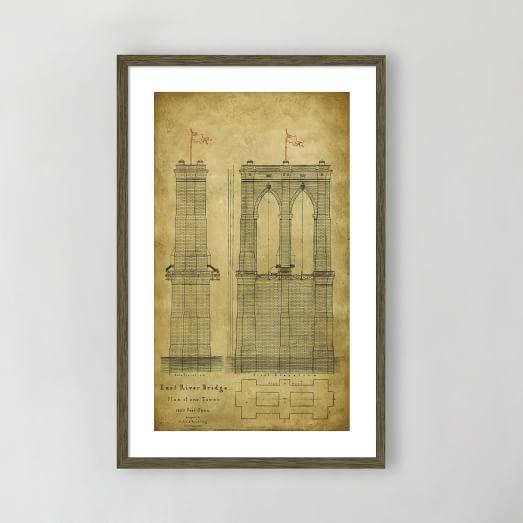 Framed Print, East River Bridge II, 18