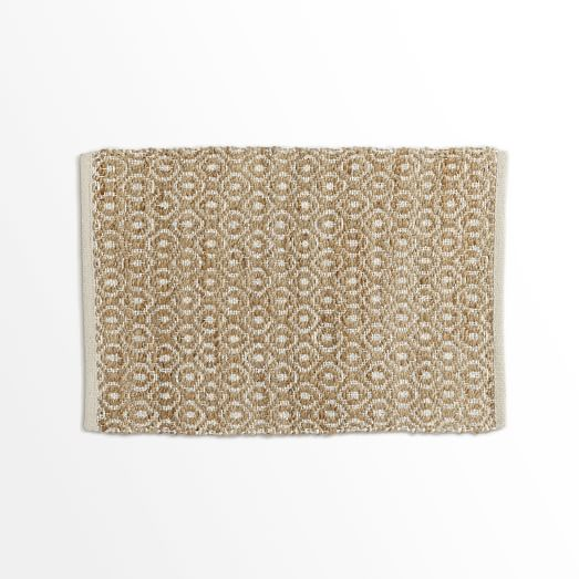 Metallic Diamond Jute Rug, Silver/Natural, 2'x3'