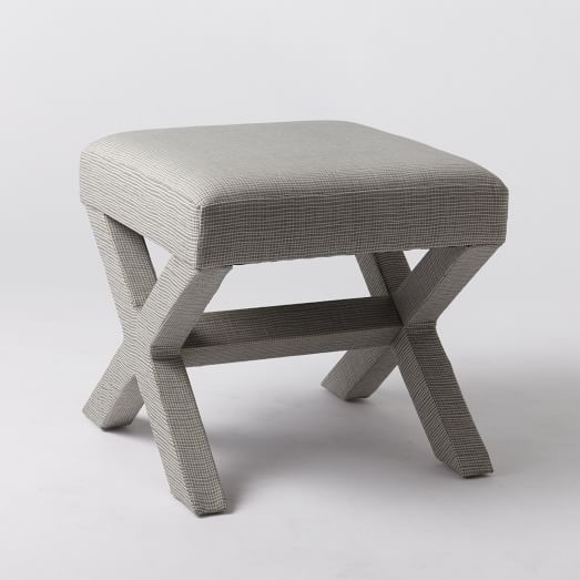 X-Base Ottoman, Steel + Ivory, Cross Weave