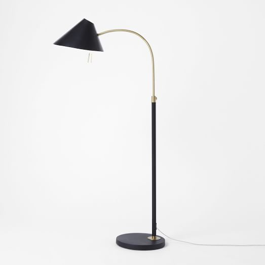 Mid-Century Task Floor Lamp, Black