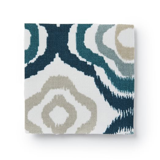 Upholstery Fabric by the Yard, Retro Ikat, Blue Lagoon