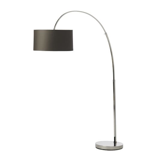 Overarching Floor Lamp Polished Nickel/Charcoal