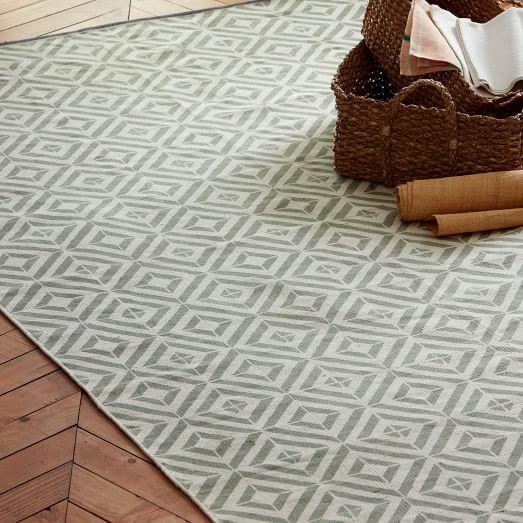 Square Tile Block-Printed Cotton Dhurrie, 2.5'x7', Platinum