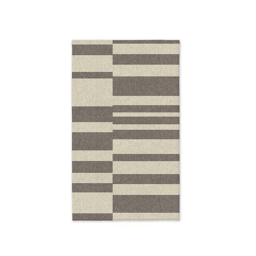SPO Offset Stripe Dhurrie, Platinum, 3'x5'