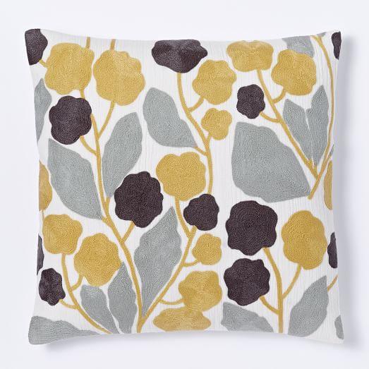 Crewel Blossom Pillow Cover, 20