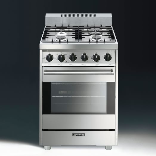 Smeg Stove, Free Standing, All Gas, Stainless Steel, 24