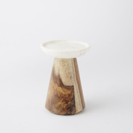 Marble + Wood Candle Holder, Small