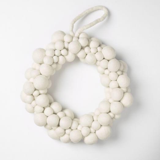 Felt Ball Wreath , White 12