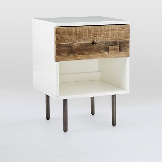 Reclaimed Wood + Lacquer Storage Nightstand, Reclaimed Pine, Gray Wash