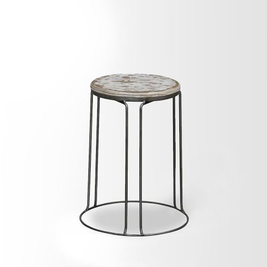Wire Base Stool , Set of 2,White