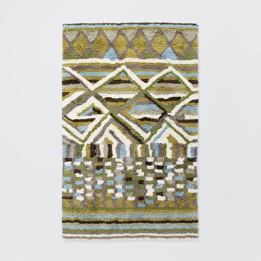 Diamond Wool Shag Rug, 3'x5', Green Tea