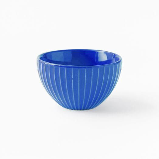 Textured Dip Bowl, Indigo, Lines