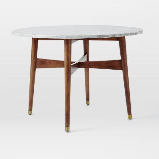 Reeve Mid-Century Dining Table, Marble/Pecan