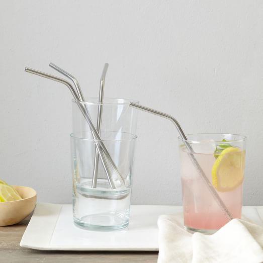 Metal Bendy Straws, Set of 8
