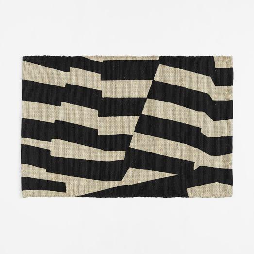 Modmix Stripe Jute Rug 2'x3', Black