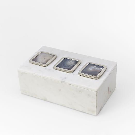 Eduardo Garza Agate Inlay Box, Large, White With Natural