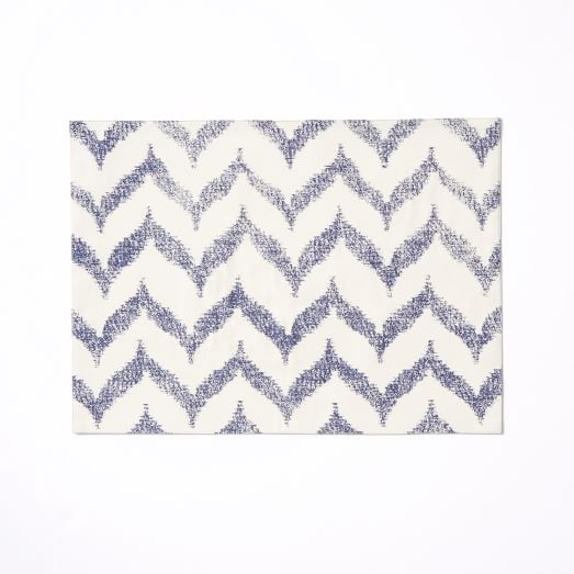 Ikat Zig Zag Placemats, Set of 2, Dusty Navy