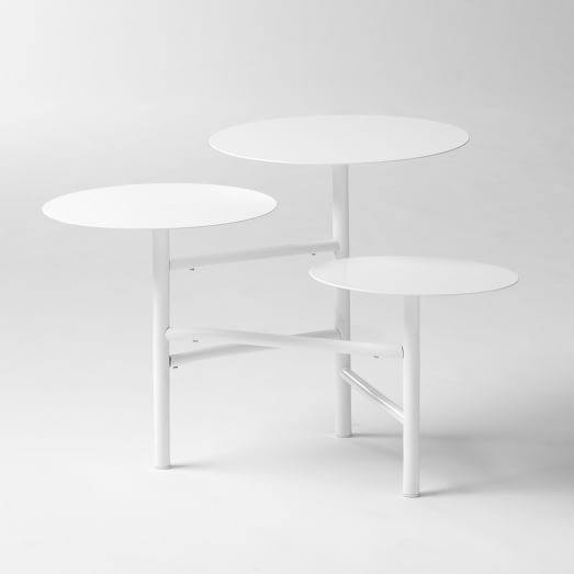 Layered Side Table, White
