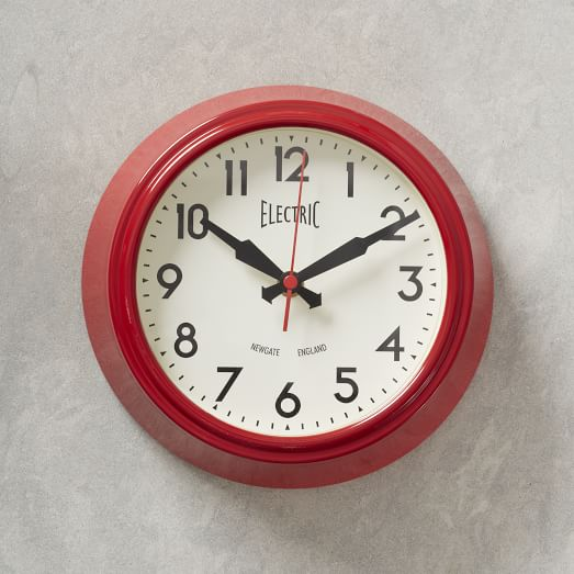 Newgate Electric Wall Clock, Red, Small
