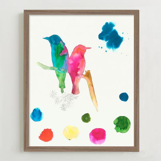 Framed Print, Bird Sketches I