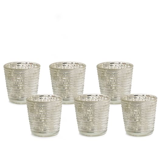 Mercury Glass Candle Holder, Set of 6, Rings, Silver
