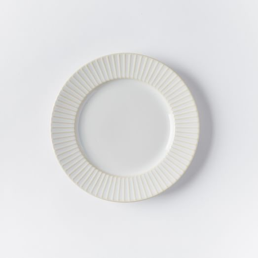Textured Salad Plate, Set of 4, White Lines