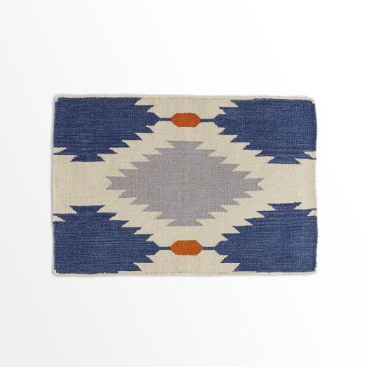 Phoenix Wool Dhurrie Rug, Regal Blue, 2'x3'