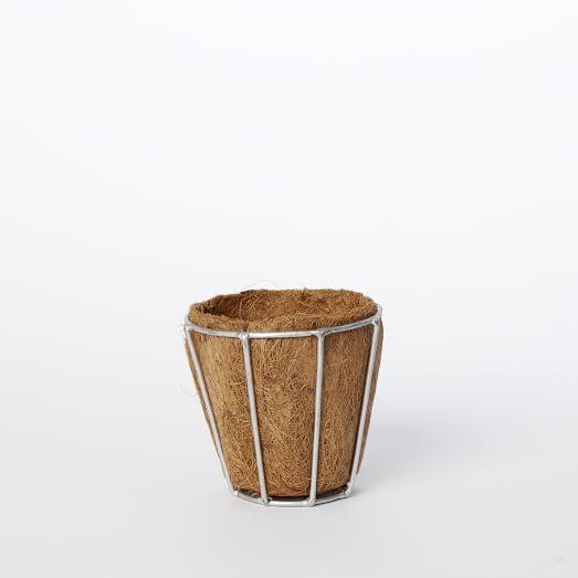 Wire Pot With Cocoa Fiber, Small