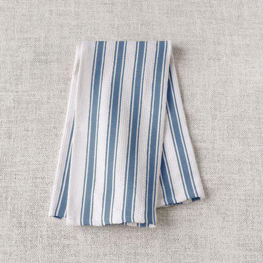 Chunky Stripe Kitchen Towel, Blue/White