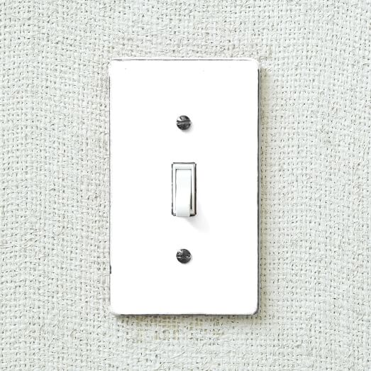 Enamel Flip Switch Cover, Single, White