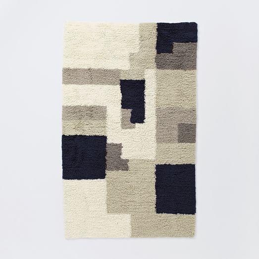 Abstract Shag Wool Rug, 3'x5', Neutral
