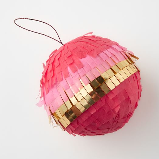 Confetti Paper Ornament, Sphere – Red + Pink