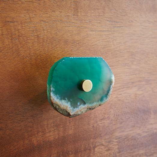 Agate + Brass Knob, Green