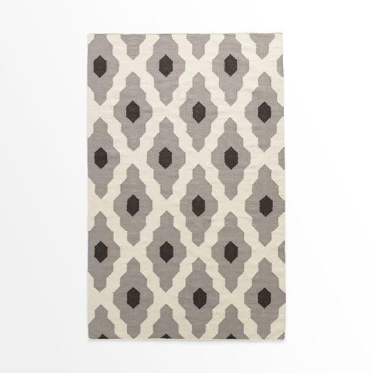 Bazaar Wool Dhurrie Rug, Platinum, 3'x5'