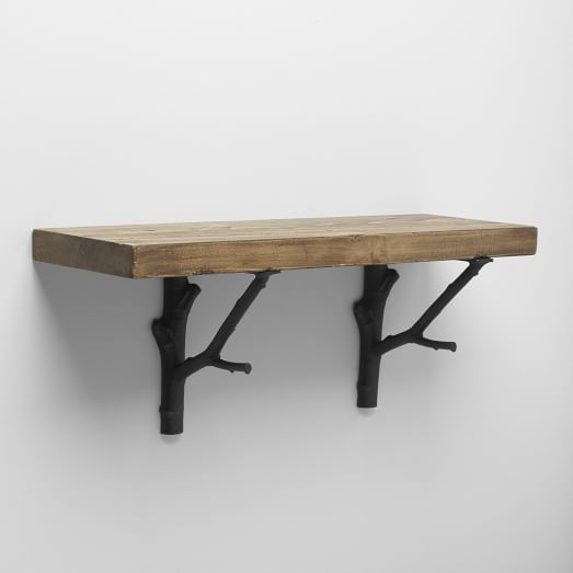 Reclaimed Wood Shelf + Black Branch Bracket, 4'