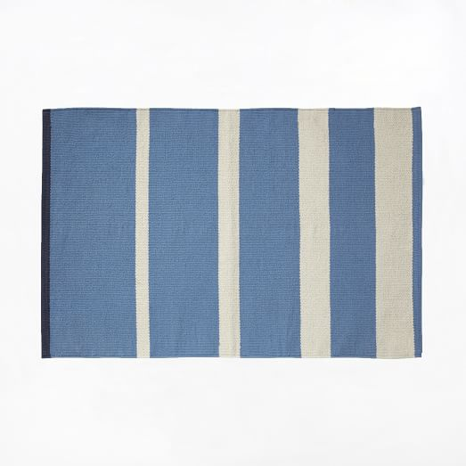 Gradated Stripe Cotton Rug, 2'x3', Poolside Blue