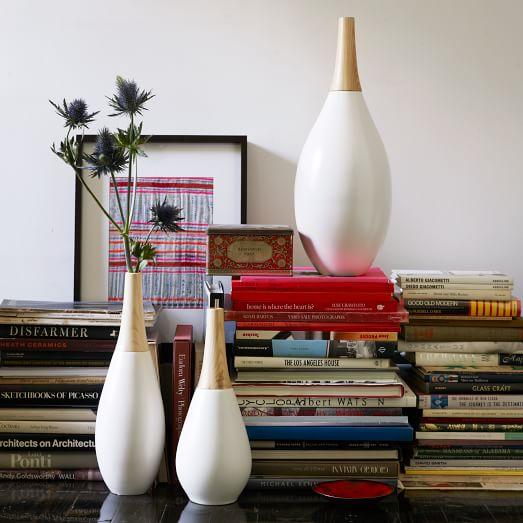 Ceramic Vase/Wood Neck, Large, White