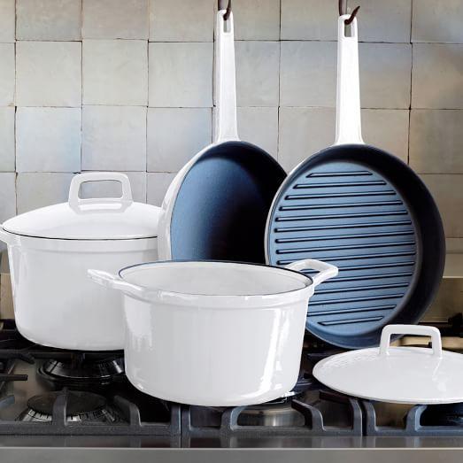 Cast Iron Cookware, 6Pc Set, White Exterior/Cream Interior