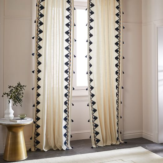 Embroidered Border Curtain West Elm