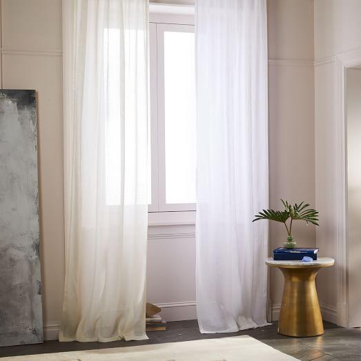 Sheer Belgian Flax Linen Curtain Ivory West Elm