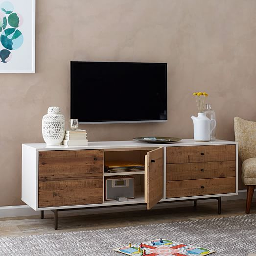 Reclaimed Wood Lacquer Media Console Long West Elm