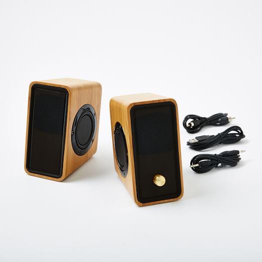 Bamboo USB Desk Speakers, Natural