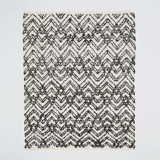 Modern Shag Rug, Black/White, 9'x12'