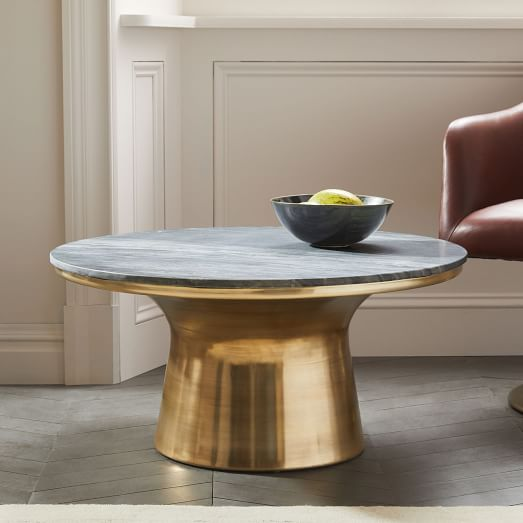 Antique Gray Coffee Tables: Marble-Topped Pedestal Coffee Table