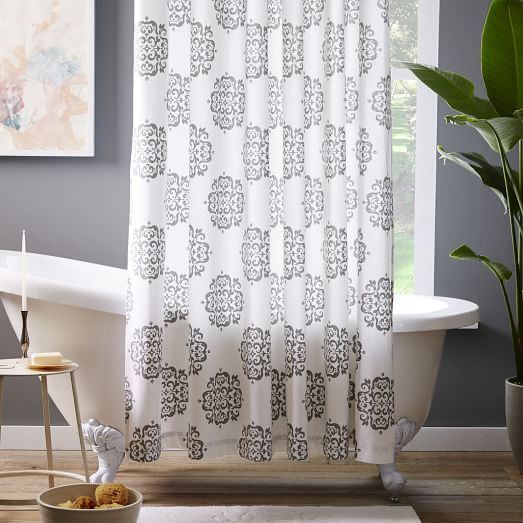 Scroll Medallion Shower Curtain - Feather Gray