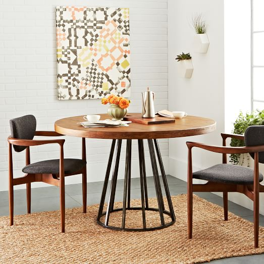 copenhagen reclaimed wood round dining table  west elm, Dining tables