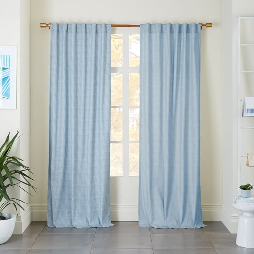Cotton Canvas Chambray Print Curtain - Belgium Blue | west elm