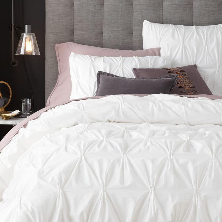 . Organic Cotton Pintuck Duvet Cover   Shams   White   west elm